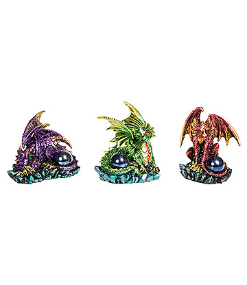 Nemesis Now Watching Their Hoard Figurines Set of 3 (Purple/Red/Green)