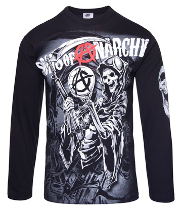 Sons Of Anarchy Reaper Montage Long Sleeved Top (Black)