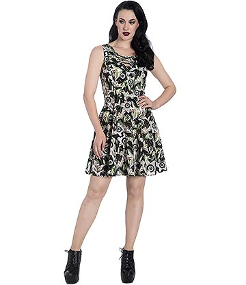 Hell Bunny Peepers Mini Dress (Green)