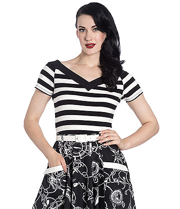 Hell Bunny Caitlin Top (Black/White)