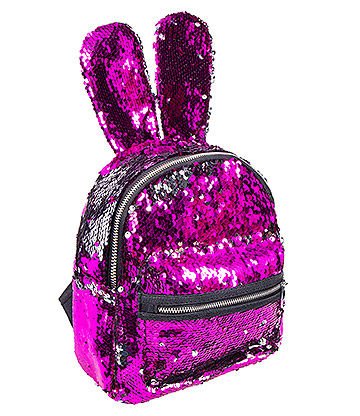Blue Banana Two Way Sequin Ears Backpack (Pink/Silver)
