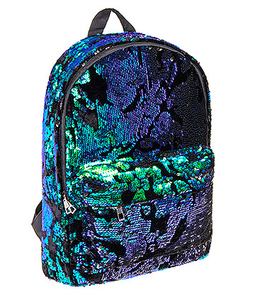 Bleeding Heart Velvet Sequin Backpack (Green/Blue/Black)