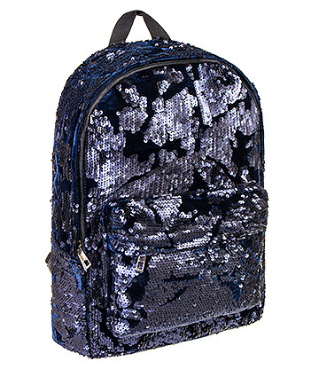 Bleeding Heart Velvet Sequin Backpack (Black/Blue)
