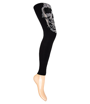 Blue Banana Skull Face Leggings (Black/Silver)