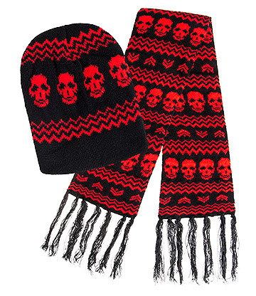 Blue Banana Skull Hat & Scarf (Black/Red)