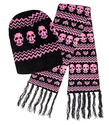 Blue Banana Skull Hat & Scarf (Black/Pink)