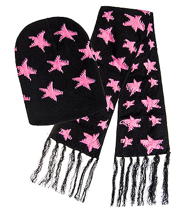 Blue Banana Stars Hat & Scarf (Black/Pink)