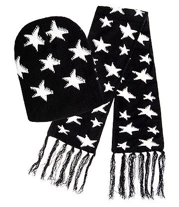 Blue Banana Stars Hat & Scarf (Black/White)