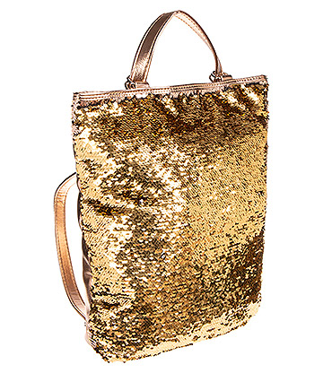 Blue Banana Two Way Sequin Backpack (Gold)