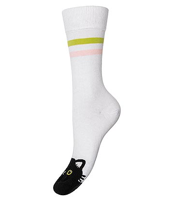 Cosmic Cat Face Socks (White/Black)