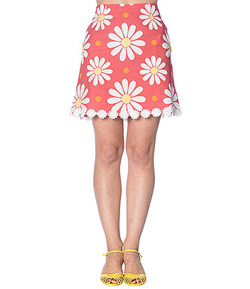 Banned Crazy Daisy Mini Skirt (Coral)