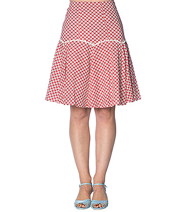 Banned Ditsy Daisy Skirt (Red)