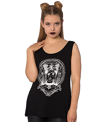 Banned Mystic Chick Pentagram Vest Top (Schwarz)