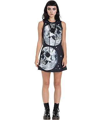 Jawbreaker Skull In The Moon Skater Dress (Black)