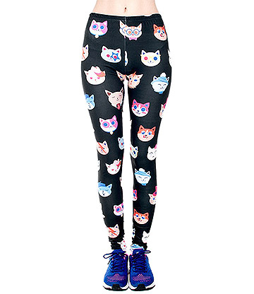 KukuBird Leggings o Mallas con Estampado de Gatos - Negro