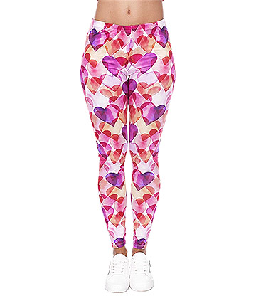 Kukubird Watercolour Hearts Leggings (Multicoloured)