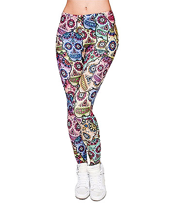 Kukubird Mexican Skull Leggings (Multicoloured)