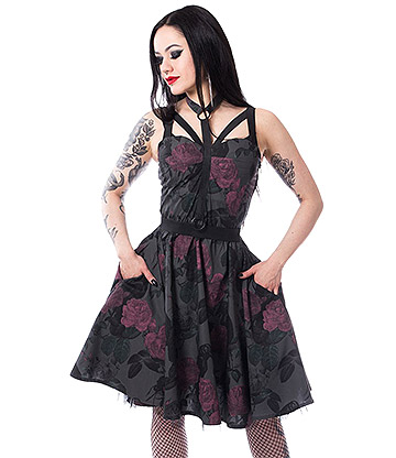 Vixxsin Dark Rose Skater Dress (Black)