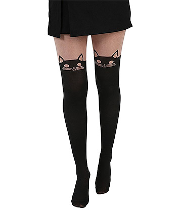 Pamela Mann Kitty Cat Over The Knee Tights (Black)