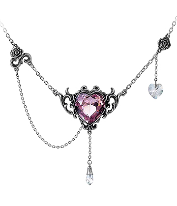 Alchemy Gothic Countess Kamila Necklace (Silver/Pink)