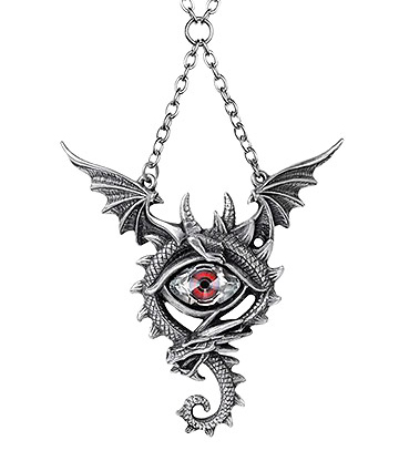 Alchemy Gothic Eye Of The Dragon Necklace (Silver/Red)