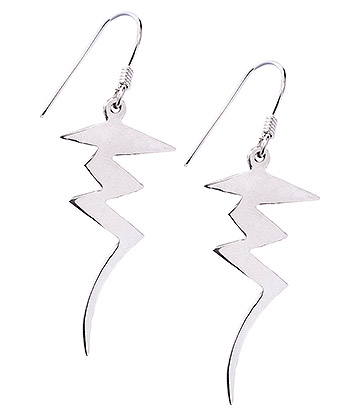 Blue Banana Lightning Bolt Earrings (Silver)