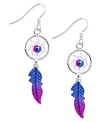 Blue Banana Dreamcatcher Earrings (Pink)