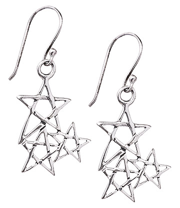 Blue Banana 3 Star Pentagram Earrings (Silver)