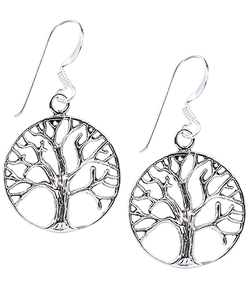 Blue Banana Large Tree Of Life Earrings (Silver)