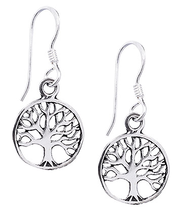 Blue Banana Small Tree Of Life Earrings (Silver)