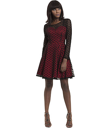 Jawbreaker Heartcore Lace Dress (Red)