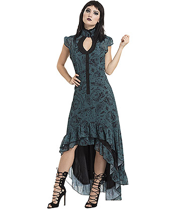 Jawbreaker Ouija Hi-Low Victoriana Dress (Green)