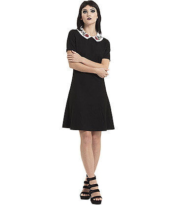 Jawbreaker Sleeping Beauty Collar Dress (Black)
