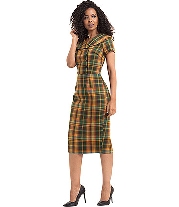 Voodoo Vixen Madison 40's Tartan Pencil Dress (Mustard)