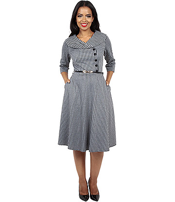 Voodoo Vixen Aubrey Houndstooth Dress (Grey)