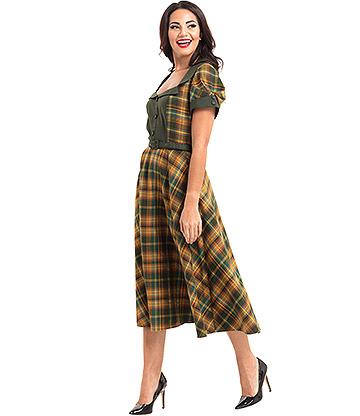 Voodoo Vixen Ella Tartan Flared Dress (Green)
