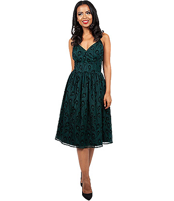 Voodoo Vixen Leah Peacock Dress (Green)