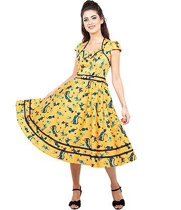Voodoo Vixen Savannah Mustard Cat Dress (Yellow)