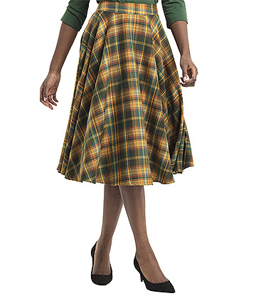 Voodoo Vixen Bridget Plaid Tartan Skirt (Green)