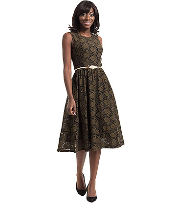 Voodoo Vixen Sophia Vintage Leaf Dress (Green)