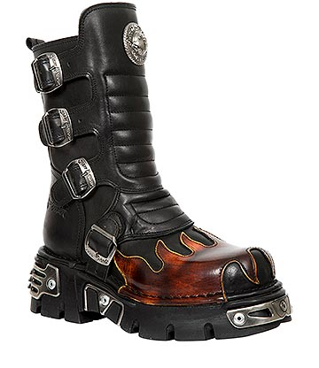 New Rock M.591X-S1 Reactor Flame Calf Boots (Black/Red)