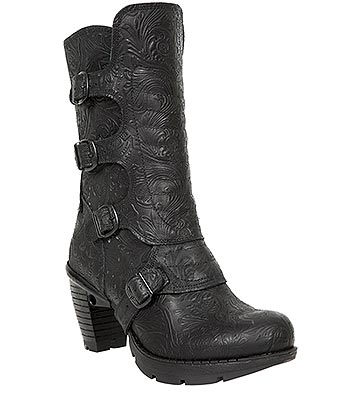 New Rock M.TR003X-S3 Trail Vintage Flower Heeled Boots (Black)