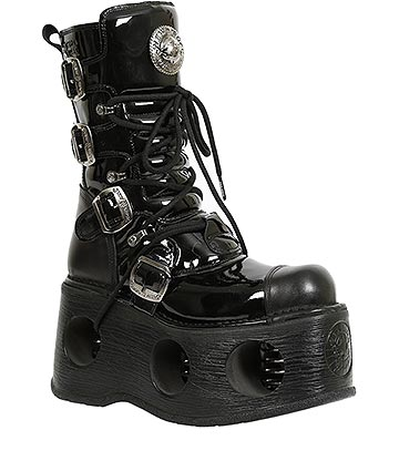 New Rock M.313-S5 Platforma Patent Leather Metallic Space Platform Boots (Black)