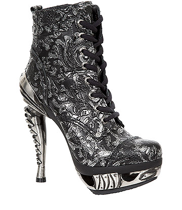 New Rock M.MAG016-S28 Magneto Vintage High Heels (Black/Silver)