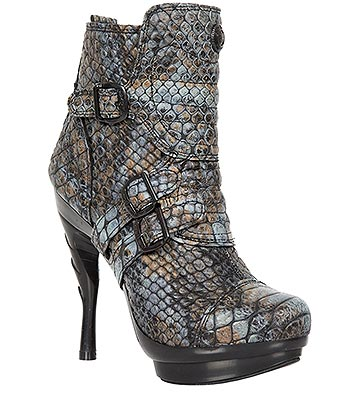 New Rock M.PUNK098X-S4 Punk Cobra Heeled Boots (Blue)