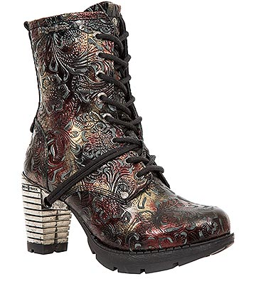 New Rock M.TR001-S23 Trail Flowers Heeled Boots (Black/Red)