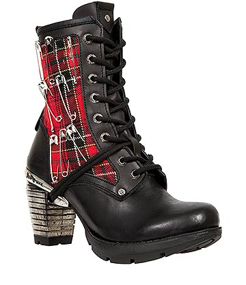 New Rock M.TR027-S1 Trail Tartan Heeled Boots (Black/Red)