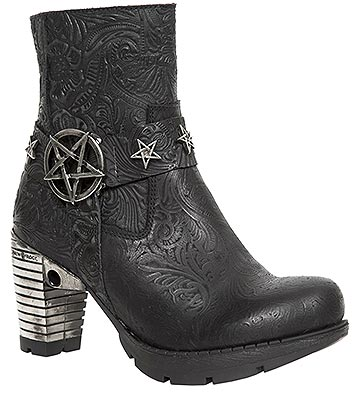 New Rock M.TR087-S1 Trail Pentagram Heeled Boots (Black)
