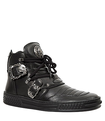 New Rock M.PS049-S1 Pisa Skull Ankle Boots (Black)