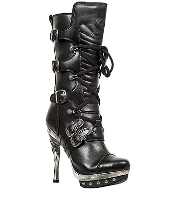 New Rock M.PUNK001-VS1 Punk Vegan High Heels (Black)